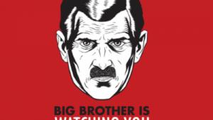 Symbolbild der Überwachung. Ein männliches Gesicht schaut die Betrachterin an. Darunter steht: Big Brother is watching you.